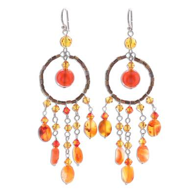 Carnelian chandelier earrings, 'Golden Dreamcatcher' - Handmade Beaded Carnelian Earrings