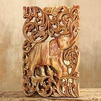 Teak relief panel, 'Regal Red Elephant' - Teak relief panel