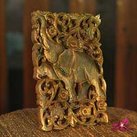 Teak relief panel, 'Regal Jade Elephant' - Teak relief panel
