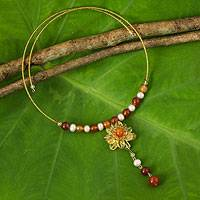 Pearl and citrine flower necklace, 'Flower of Love'