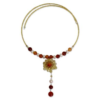 Pearl and citrine flower necklace, 'Flower of Love' - Floral Beaded Citrine Necklace from Thailand