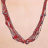 Pearl and garnet torsade necklace, 'River of Red' - Pearl and Garnet Torsade Necklace