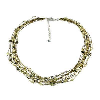 Peridot and Pearl Torsade Necklace