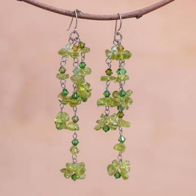 Peridot earrings, 'Lime Rain' - Thai Peridot Dangle Earrings