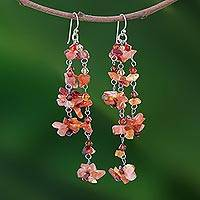 Carnelian waterfall earrings, 'Ginger Rain' - Handcrafted Beaded Carnelian Earrings