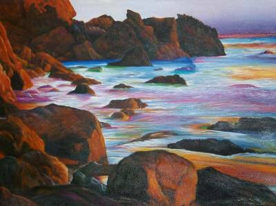 'Twilight Beach' (2005) - Original Landscape Oil Painting