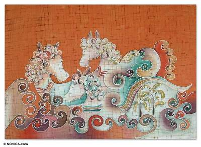 Cotton wall hanging, 'Joyous Animals' - Artisan Crafted Cotton Wall Hanging
