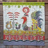 Cotton wall hanging, 'Bird Fancy'