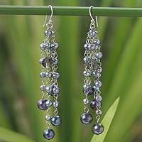 Pearl waterfall earrings, 'Purple Promise' - Hand Made Thai Pearl Earrings