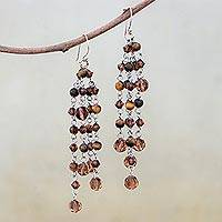 Tiger's eye waterfall earrings, 'Sweet Gold Mist' - Tiger's eye waterfall earrings