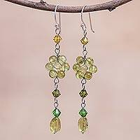 Peridot dangle earrings, 'Sweet Eternal' - Floral Beaded Peridot Earrings