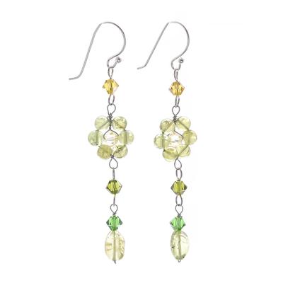 Peridot dangle earrings, 'Sweet Eternal' - Floral Beaded Peridot Earrings
