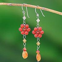 Carnelian floral earrings, 'Sweet Eternal' - Floral Beaded Carnelian Earrings