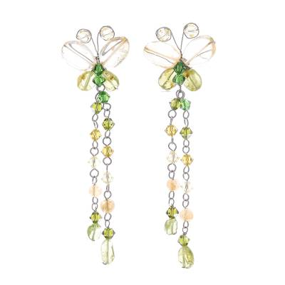 Unique Beaded Peridot and Citrine Earrings