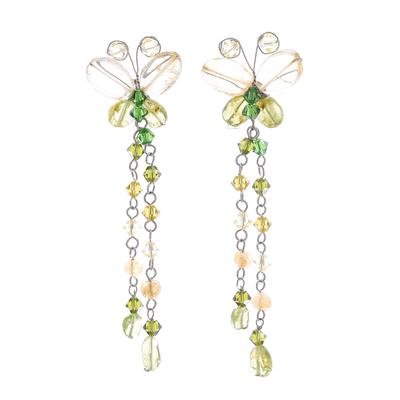 Peridot and citrine dangle earrings, 'Flight' - Unique Beaded Peridot and Citrine Earrings