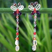Carnelian and garnet waterfall earrings, 'Flight' - Carnelian and garnet waterfall earrings