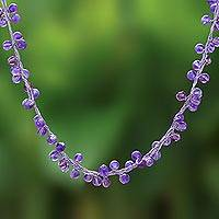 Amethyst beaded necklace, 'Radiance' - Unique Beaded Amethyst Necklace