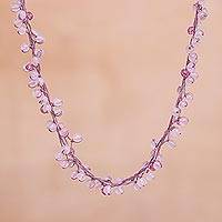 Rose quartz beaded necklace, 'Radiance' - Unique Beaded Rose Quartz Necklace