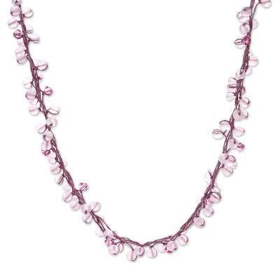 Rose quartz beaded necklace, 'Radiance' - Unique Beaded Rose Quartz Necklace