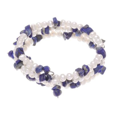 Pearl and lapis lazuli wrap bracelet, 'Blue Solstice' - Pearl and Lapis Lazuli Wristband Bracelet