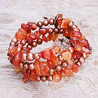 Pearl and carnelian wrap bracelet, 'Golden Solstice' - Beaded Carnelian and Pearl Bracelet