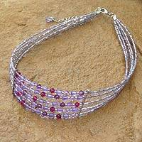 Amethyst choker, 'Path of Dreams' - Amethyst Beaded Choker from Thailand
