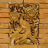 Teak relief panel, 'Golden Peacock' - Teak relief panel