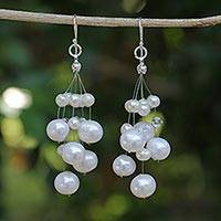 Pearl waterfall earrings, 'Sugar Candyfloss'
