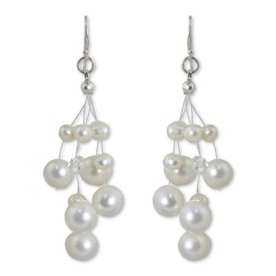 Pearl waterfall earrings, 'Sugar Candyfloss' - Thai Bridal Waterfall Pearl Earrings