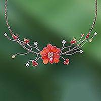 Carnelian and citrine flower necklace, 'Ginger Beauty' - Floral Carnelian Beaded Necklace