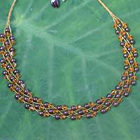 Garnet choker, 'Amber Fishnet' - Beaded Garnet Necklace