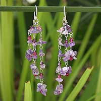 Amethyst waterfall earrings, 'Lavender Rain' - Hand Crafted Beaded Amethyst Earrings