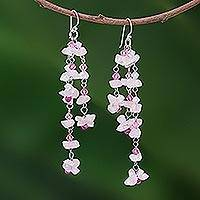 Rose quartz waterfall earrings, 'Rosy Rain'