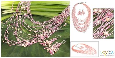 Pearl and rose quartz jewelry set, 'Rushing Pink' - Pearl and Rose Quartz Necklace and Earrings Jewelry Set