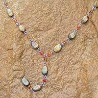 Tiger's eye Y necklace, 'Gumdrops' - Beaded Tigers Eye Y Necklace