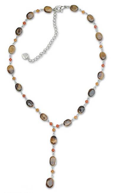 Tiger's eye Y necklace, 'Gumdrops' - Beaded Tigers Eye Y Necklace