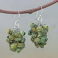 Peridot cluster earrings, 'Sweet Green Grapes' - Peridot Beaded Earrings