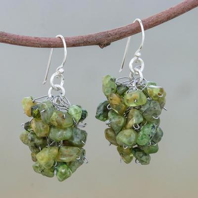 Peridot cluster earrings, 'Sweet Green Grapes' - Peridot Beaded Earrings