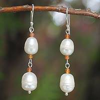 Pearl and carnelian dangle earrings, 'Nature's Melody' - Sterling Silver Pearl Dangle Earrings