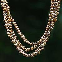 Pearl choker, 'Golden Secrets' - Pearl Choker Necklace