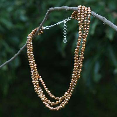 Pearl choker, 'Golden Secrets' - Pearl Choker Necklace