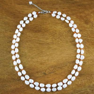 Pearl and carnelian strand necklace, 'Sunny Clouds' - Bridal Pearl Necklace