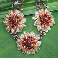Citrine and carnelian choker, 'Chrysanthemum Trio' - Citrine and carnelian choker