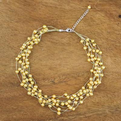 Pearl strand necklace, 'Golden Web of Beauty' - Pearl Strand Necklace Handmade in Thailand