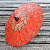 Saa paper parasol, 'Motifs on Tangerine' - Celosia Orange Thai Paper Umbrella