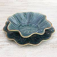 Celadon ceramic serving set, 'Lotus Invitation' (pair) - Celadon ceramic serving set (Pair)