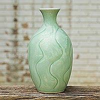 Celadon ceramic vase, 'Swift Waves' - Celadon ceramic vase