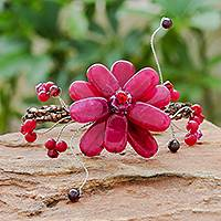 Quartzite and garnet floral bracelet, 'Red Bouquet' - Handcrafted Floral Beaded Quartz Bracelet