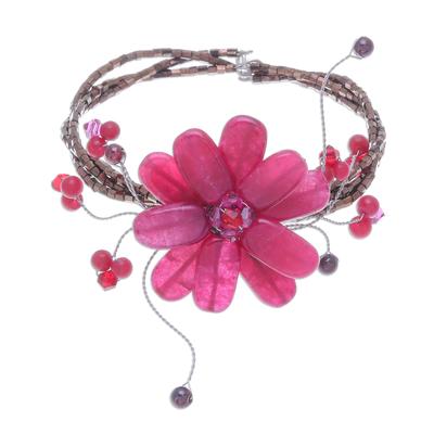 Handcrafted Floral Beaded Quartz Bracelet