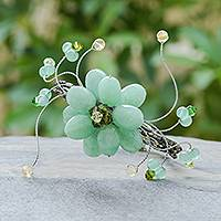 Quartzite floral bracelet, 'Lime Bouquet' - Beaded Quartz Floral Bracelet
